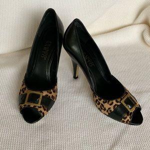 Franco Sarto Black/Animal Print Peep Toe Heels